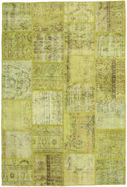 Patchwork Matto 159X234 Moderni Käsinsolmittu Oliivinvihreä/Keltainen (Villa, Turkki)
