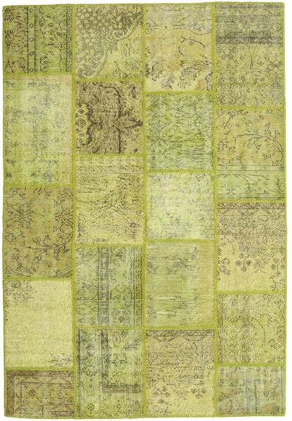 Patchwork Matto 159X236 Moderni Käsinsolmittu Oliivinvihreä/Vaaleanvihreä (Villa, Turkki)