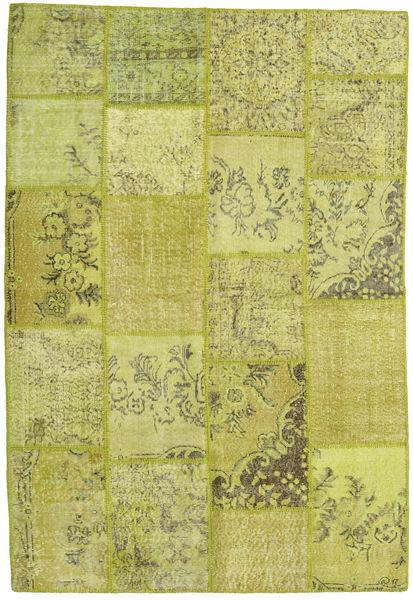 Patchwork Matto 157X232 Moderni Käsinsolmittu Oliivinvihreä/Keltainen (Villa, Turkki)