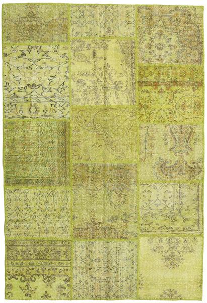 Patchwork Matto 156X235 Moderni Käsinsolmittu Oliivinvihreä/Keltainen (Villa, Turkki)