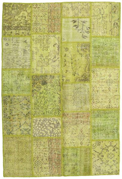 Patchwork Matto 158X234 Moderni Käsinsolmittu Vaaleanvihreä/Keltainen/Oliivinvihreä (Villa, Turkki)