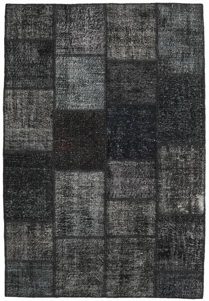 Patchwork Matto 157X231 Moderni Käsinsolmittu Musta/Tummanharmaa/Tummanvihreä (Villa, Turkki)