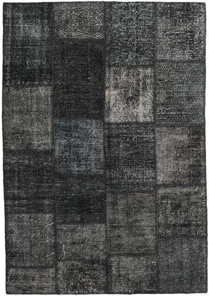 Patchwork Matto 160X231 Moderni Käsinsolmittu Tummanharmaa (Villa, Turkki)