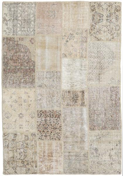 Patchwork Matto 139X201 Moderni Käsinsolmittu Vaaleanharmaa (Villa, Turkki)