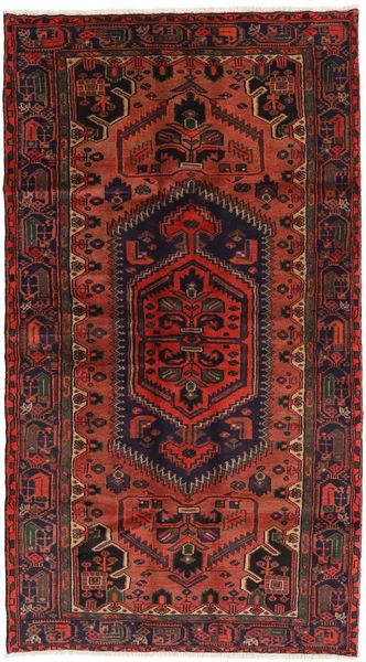 Hamadan Matto 126X225 Itämainen Käsinsolmittu Tummanpunainen/Musta (Villa, Persia/Iran)