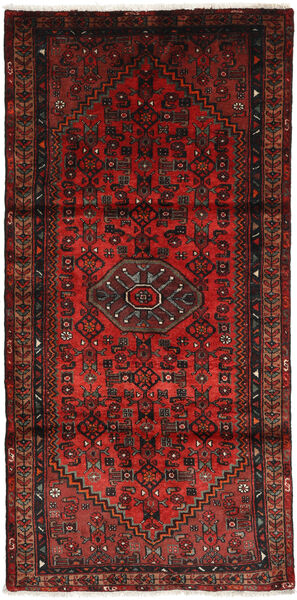 Hamadan Matto 107X209 Itämainen Käsinsolmittu Tummanpunainen/Tummanruskea (Villa, Persia/Iran)