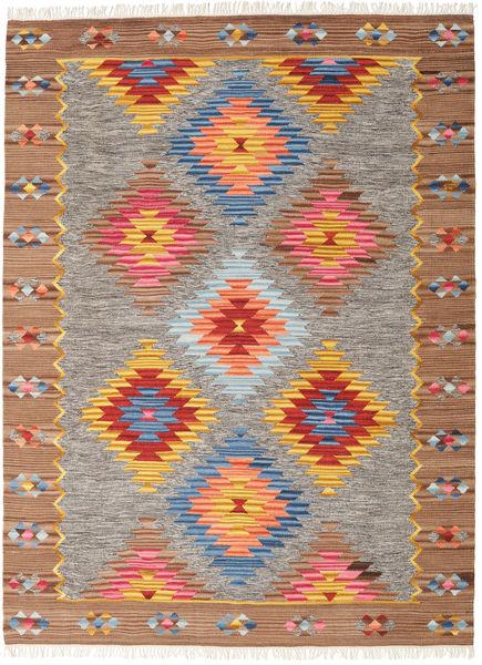 Spring Kelim Matto 210X290 Moderni Käsinkudottu Vaaleanharmaa/Ruskea (Villa, Intia)