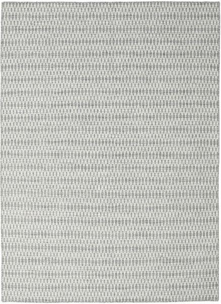 Kelim Long Stitch - Harmaa Matto 210X290 Moderni Käsinkudottu Vaaleanharmaa/Siniturkoosi (Villa, Intia)