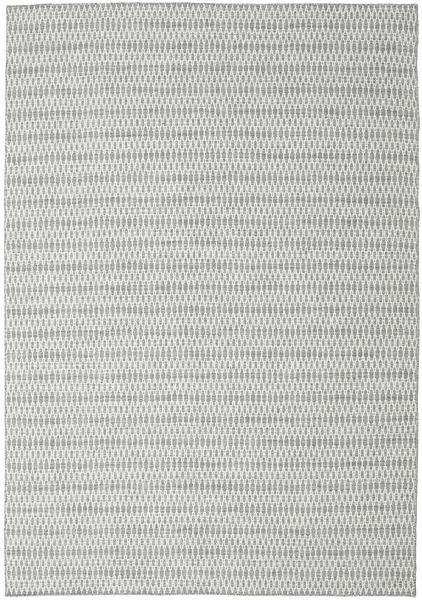 Kelim Long Stitch - Harmaa Matto 240X340 Moderni Käsinkudottu Vaaleanharmaa/Siniturkoosi (Villa, Intia)