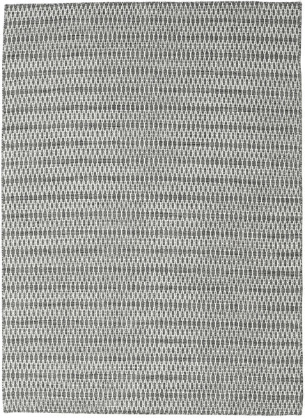 Kelim Long Stitch - Musta/Harmaa Matto 210X290 Moderni Käsinkudottu Vaaleanharmaa/Siniturkoosi (Villa, Intia)