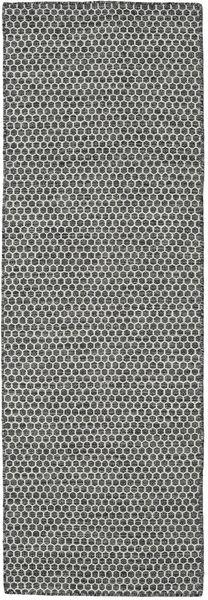 Kelim Honey Comb - Musta/Harmaa Matto 80X240 Moderni Käsinkudottu Käytävämatto Vaaleanharmaa/Tummanharmaa (Villa, Intia)