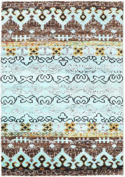 Quito - L. Sininen Matto 140X200 Moderni Käsinsolmittu Siniturkoosi/Vaaleansininen (Silkki, Intia)