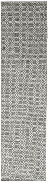 Kelim Honey Comb - Harmaa Matto 80X340 Moderni Käsinkudottu Käytävämatto Vaaleanharmaa/Tummanharmaa (Villa, Intia)