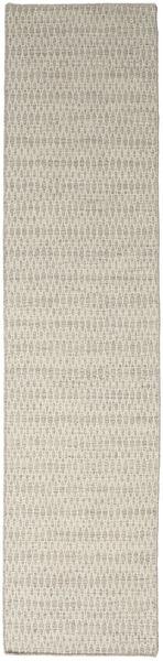 Kelim Long Stitch - Beige Matto 80X340 Moderni Käsinkudottu Käytävämatto Vaaleanharmaa/Tummanbeige (Villa, Intia)