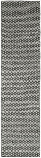 Kelim Honey Comb - Musta/Harmaa Matto 80X340 Moderni Käsinkudottu Käytävämatto Tummanharmaa/Vaaleanharmaa (Villa, Intia)