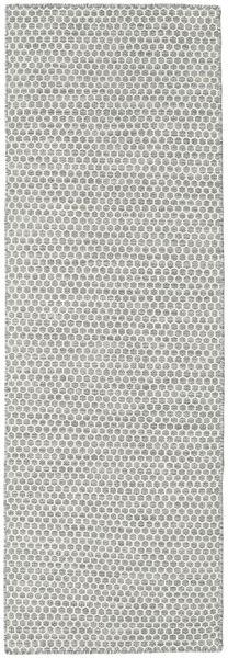 Kelim Honey Comb - Harmaa Matto 80X240 Moderni Käsinkudottu Käytävämatto Vaaleanharmaa/Beige (Villa, Intia)