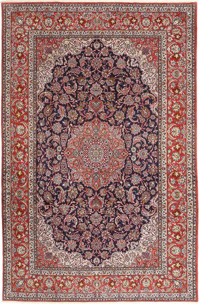 Isfahan Silkkiloimi Matto 200X310 Itämainen Käsinsolmittu Tummanpunainen/Vaaleanharmaa (Villa/Silkki, Persia/Iran)