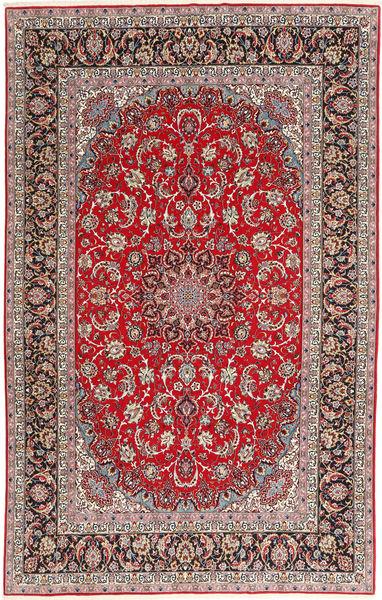 Isfahan Silkkiloimi Matto 200X308 Itämainen Käsinsolmittu Vaaleanharmaa/Tummanpunainen (Villa/Silkki, Persia/Iran)