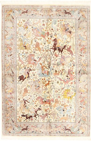 Ghom Silkki Matto 140X211 Itämainen Käsinsolmittu Beige/Vaaleanpunainen (Silkki, Persia/Iran)