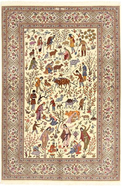 Ilam Sherkat Farsh Silkki Matto 150X220 Itämainen Käsinsolmittu Beige/Ruskea/Vaaleanruskea (Villa/Silkki, Persia/Iran)