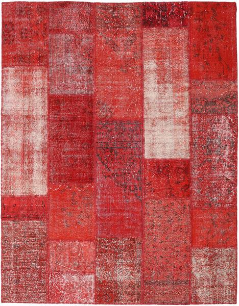 Patchwork Matto 202X260 Moderni Käsinsolmittu Tummanpunainen/Ruoste (Villa, Turkki)