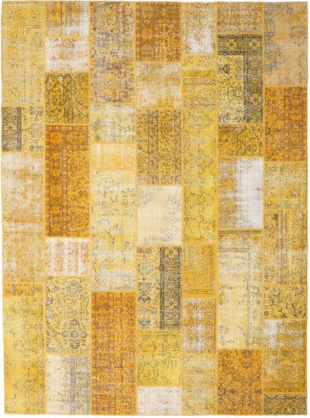 Patchwork Matto 275X374 Moderni Käsinsolmittu Vaaleanruskea/Tummanbeige Isot (Villa, Turkki)