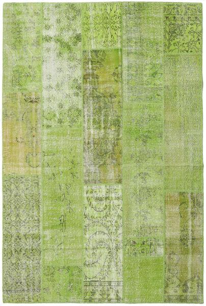 Patchwork Matto 201X302 Moderni Käsinsolmittu Vaaleanvihreä/Oliivinvihreä (Villa, Turkki)