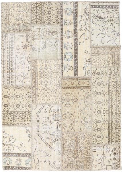 Patchwork Matto 229X261 Moderni Käsinsolmittu Vaaleanharmaa/Beige (Villa, Turkki)