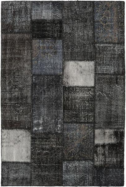 Patchwork Matto 160X237 Moderni Käsinsolmittu Tummanharmaa/Musta (Villa, Turkki)