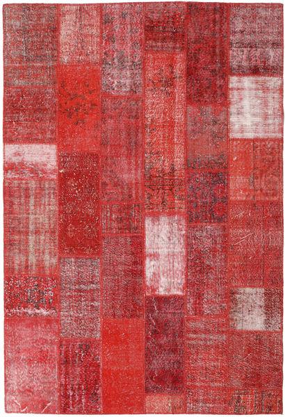 Patchwork Matto 203X302 Moderni Käsinsolmittu Tummanpunainen/Ruoste (Villa, Turkki)