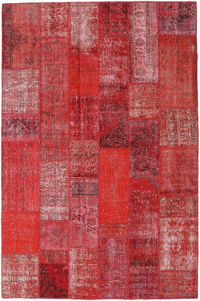 Patchwork Matto 202X306 Moderni Käsinsolmittu Tummanpunainen/Punainen/Ruoste (Villa, Turkki)