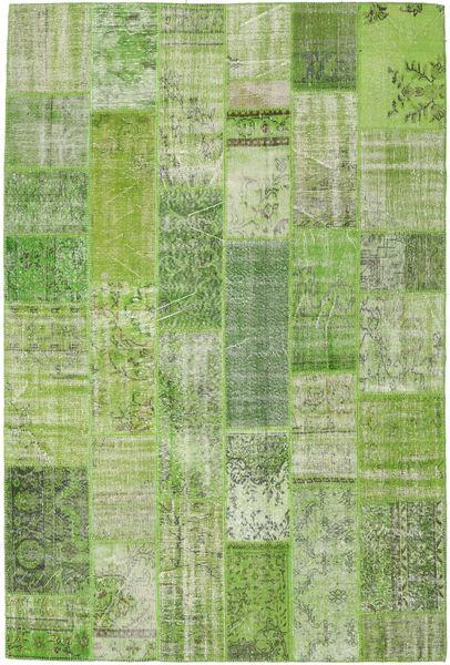 Patchwork Matto 202X302 Moderni Käsinsolmittu Vaaleanvihreä/Oliivinvihreä (Villa, Turkki)