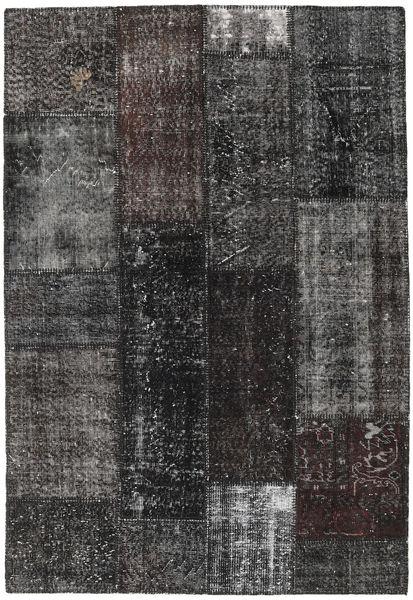 Patchwork Matto 141X206 Moderni Käsinsolmittu Musta/Tummanharmaa (Villa, Turkki)