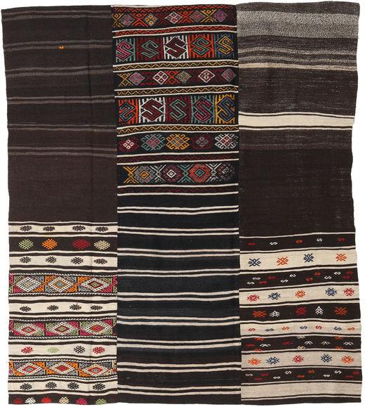 Kelim Patchwork Matto 198X230 Moderni Käsinkudottu Tummanruskea/Vaaleanharmaa (Villa, Turkki)