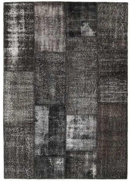 Patchwork Matto 161X231 Moderni Käsinsolmittu Tummanharmaa (Villa, Turkki)