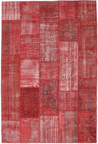 Patchwork Matto 203X301 Moderni Käsinsolmittu Tummanpunainen/Ruoste (Villa, Turkki)