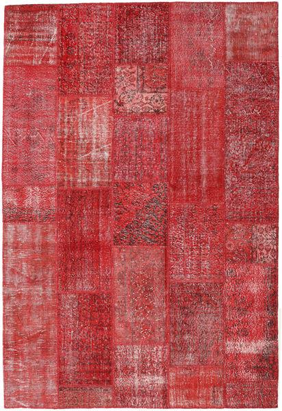 Patchwork Matto 202X299 Moderni Käsinsolmittu Ruoste/Tummanpunainen (Villa, Turkki)
