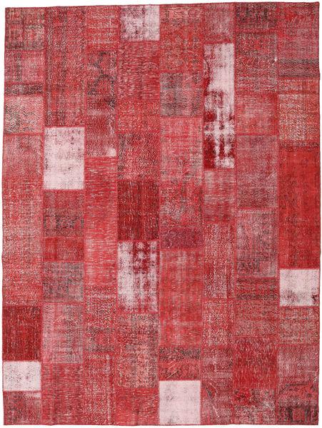 Patchwork Matto 303X403 Moderni Käsinsolmittu Ruoste/Tummanpunainen Isot (Villa, Turkki)