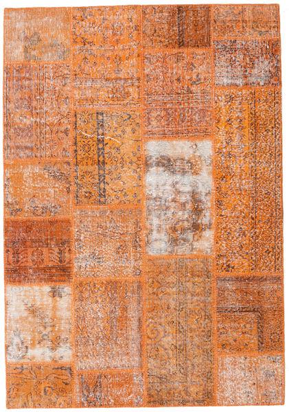 Patchwork Matto 161X232 Moderni Käsinsolmittu Vaaleanruskea/Oranssi (Villa, Turkki)