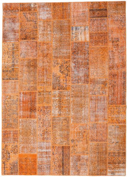 Patchwork Matto 265X369 Moderni Käsinsolmittu Vaaleanruskea/Oranssi Isot (Villa, Turkki)