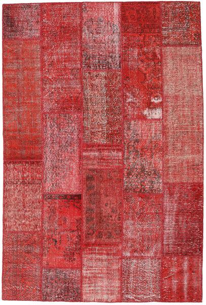 Patchwork Matto 202X302 Moderni Käsinsolmittu Tummanpunainen/Ruoste (Villa, Turkki)