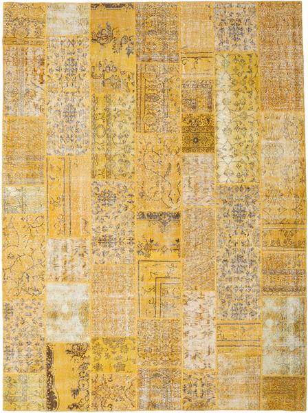 Patchwork Matto 275X372 Moderni Käsinsolmittu Vaaleanruskea/Tummanbeige Isot (Villa, Turkki)