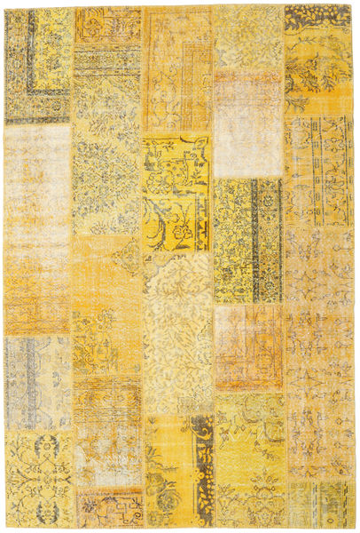 Patchwork Matto 203X303 Moderni Käsinsolmittu Tummanbeige/Keltainen (Villa, Turkki)