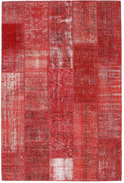 Patchwork Matto 202X303 Moderni Käsinsolmittu Tummanpunainen/Ruoste (Villa, Turkki)