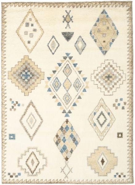 Berber Indo - Valkea/Beige Matto 210X290 Moderni Käsinsolmittu Valkoinen/Creme/Beige (Villa, Intia)
