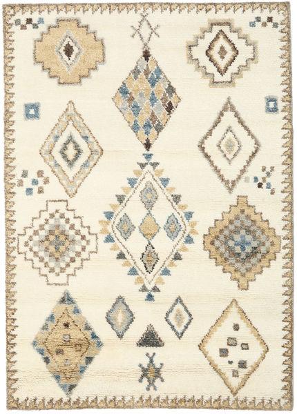 Berber Indo - Valkea/Beige Matto 160X230 Moderni Käsinsolmittu Beige/Vaaleanruskea (Villa, Intia)