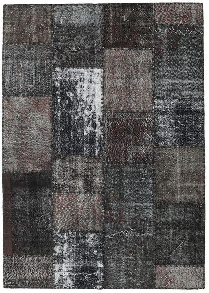 Patchwork Matto 162X229 Moderni Käsinsolmittu Musta/Tummanharmaa (Villa, Turkki)