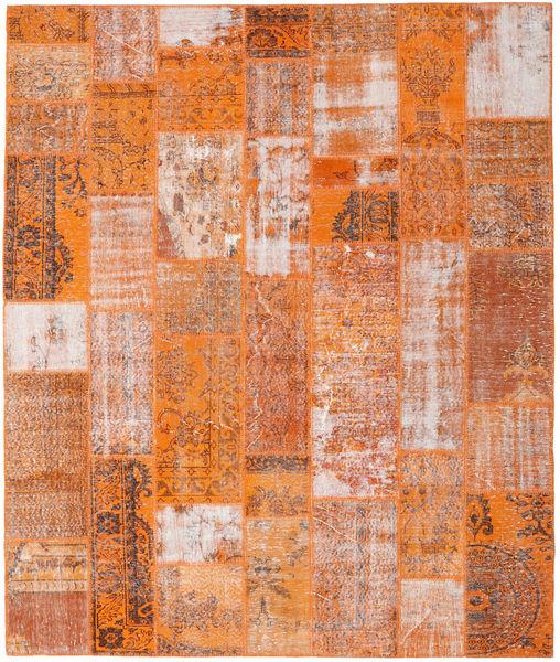 Patchwork Matto 254X301 Moderni Käsinsolmittu Oranssi/Vaaleanruskea Isot (Villa, Turkki)