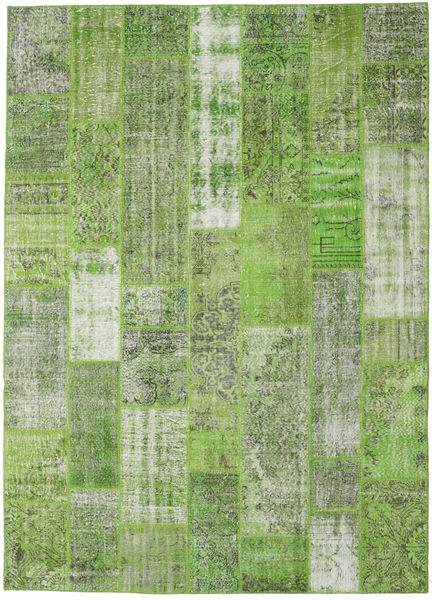 Patchwork Matto 252X351 Moderni Käsinsolmittu Vaaleanvihreä/Pastellinvihreä Isot (Villa, Turkki)