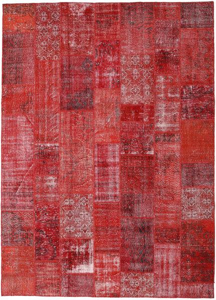 Patchwork Matto 251X349 Moderni Käsinsolmittu Punainen/Tummanpunainen Isot (Villa, Turkki)